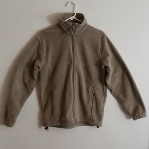 Columbia Mens Zipper Fleece Jacket Small Tan